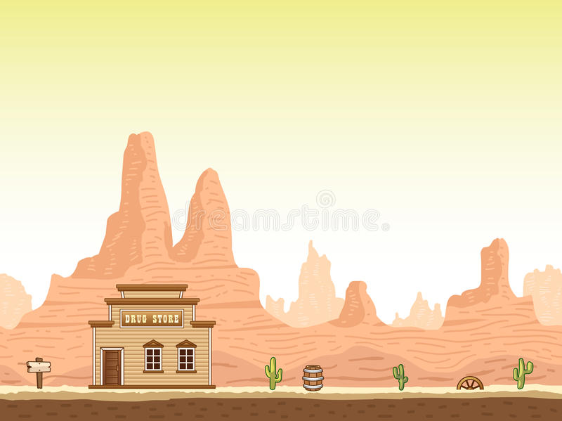 Wild, old west canyon background with drug store royalty free illustration