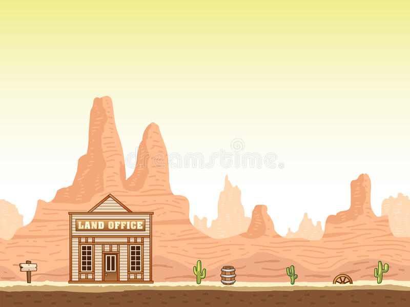 Wild, old west canyon background with land office vector illustration