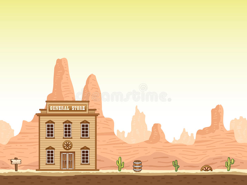 Wild, old west canyon background with store stock illustration