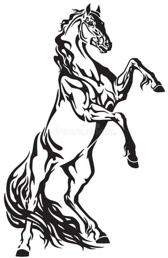 Wild paardhengst die omhoog grootbrengt vector illustratie