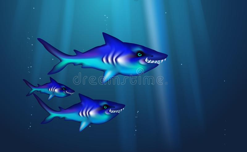 Wild predator sharks blue background small flock fish. Cartoon funny cant marine life optimized from banner design, this a happy royalty free illustration