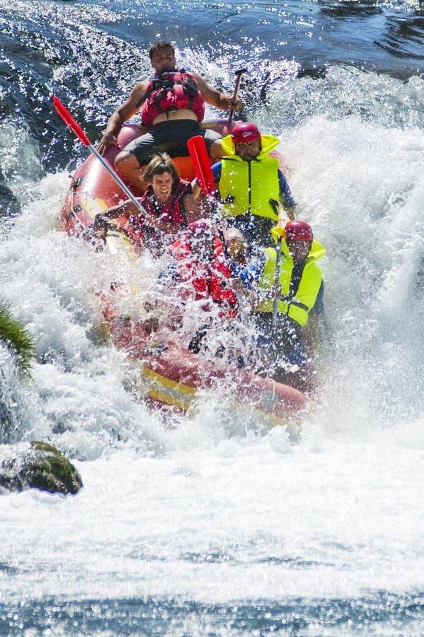 Wild rafting. On wild river stock image