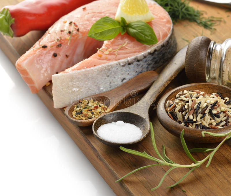 Wild Rice And Salmon Stock Photos