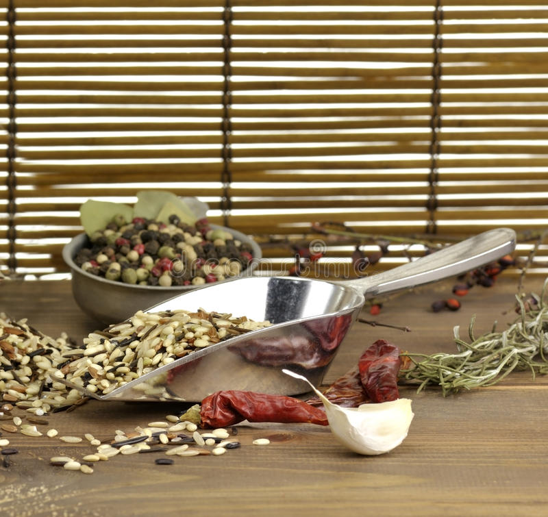 Download Wild Rice And Spices stock photo. Image of rustic, variety - 22461510