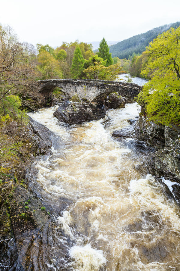 Wild river in mountain landscape. In scotoland royalty free stock photography