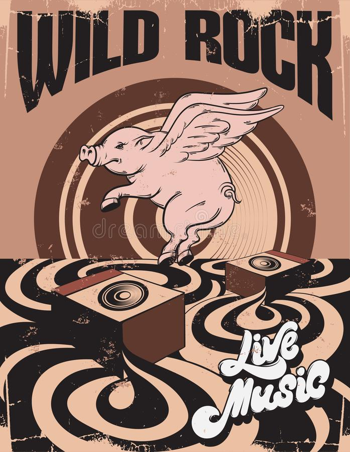 Free Wild Rock. Live Music. Vector Hand Drawn Illustration Of Surreal Landscape Withflying Pig. Stock Photography - 122057172