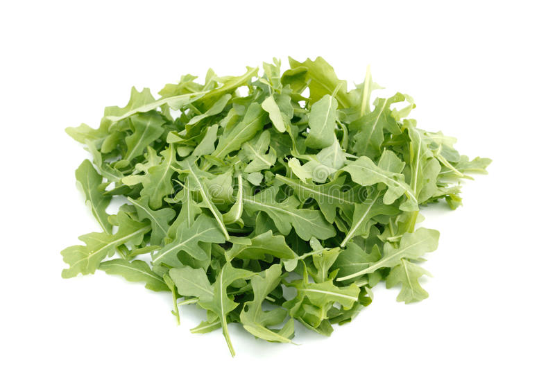 Wild Rocket Isolated On A White backgrou. Wild Rocket in a heap isolated on a white background royalty free stock image