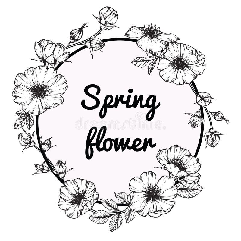 Line Art Aplic Flower Design : Wild rose flower frame drawing and sketch stock