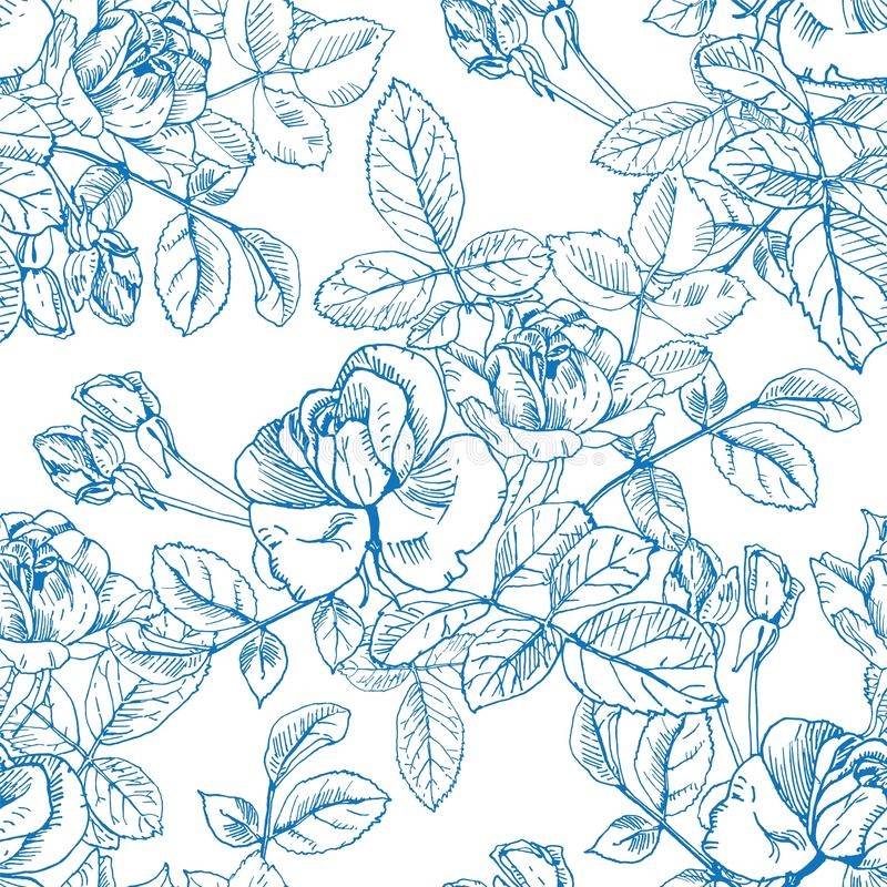 Wild roses plant with flowers in blue ink. Hand drawn vector etch style seamless surface pattern. Buds, leaves, stems on. Ink wild rose textile surface repeat vector illustration