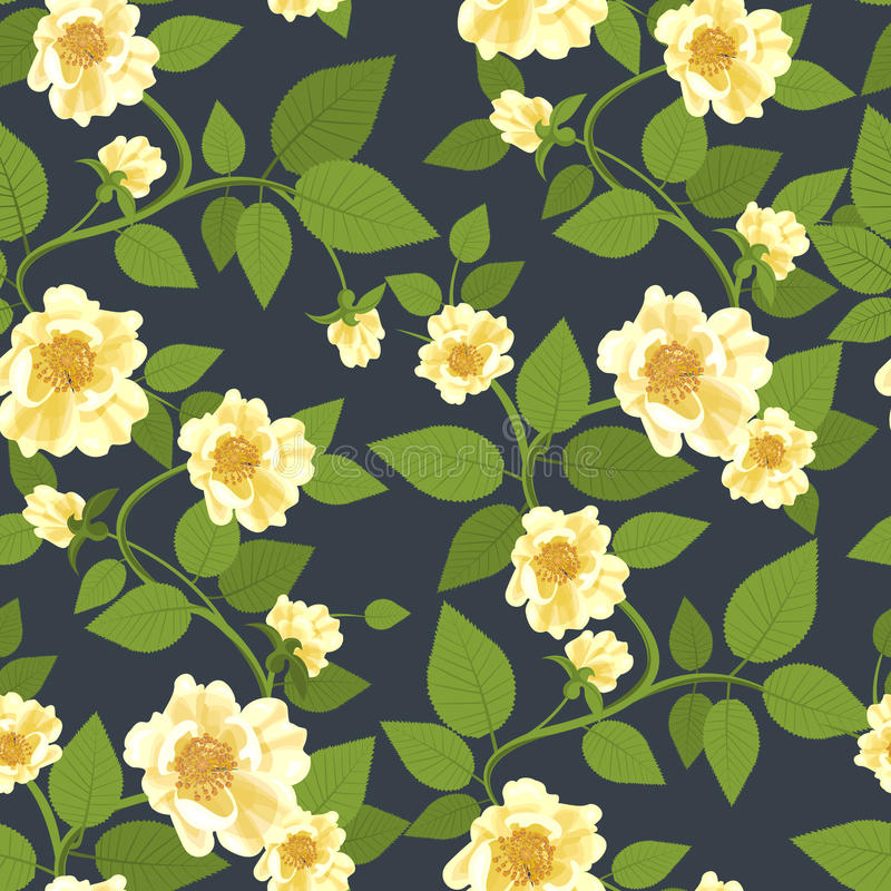 Wild Roses Retro Pattern. Decorative textile background with wild yellow roses and veiny leaves. Retro floral composition. Seamless in any directions. Use it for vector illustration