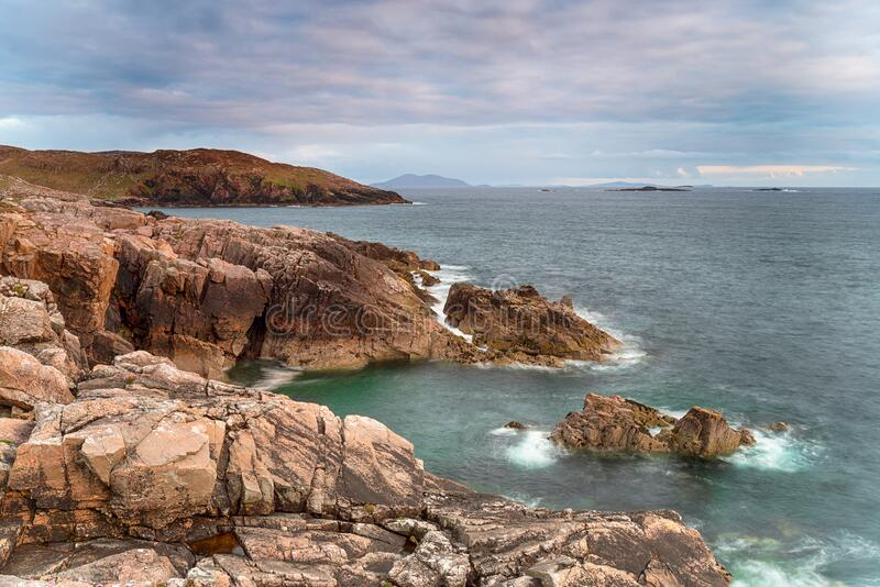 The wild and rugged coastline of the Isle of Harris stock images