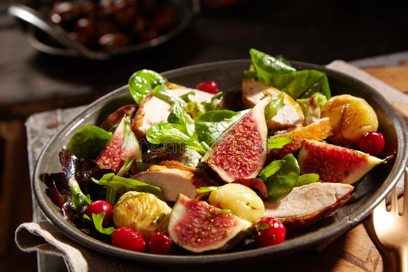 Wild salad with chestnuts, pheasant and figs stock images
