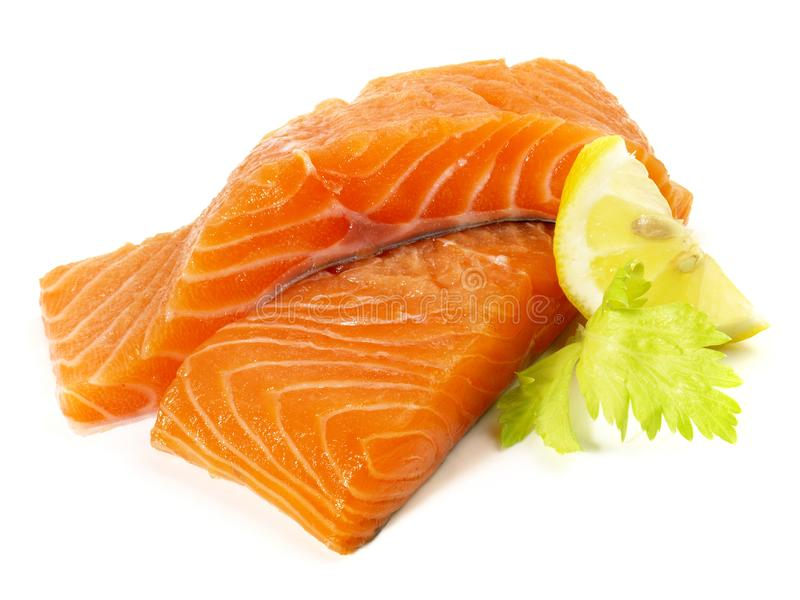 Wild Salmon - Fish Fillet. On white Background stock photography