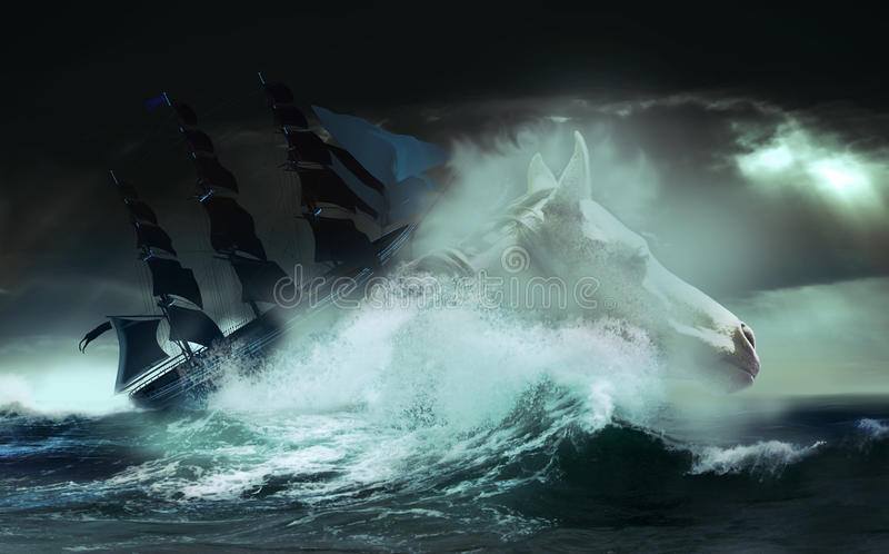 Download Wild sea stock illustration. Illustration of wave, sailboat - 26552028