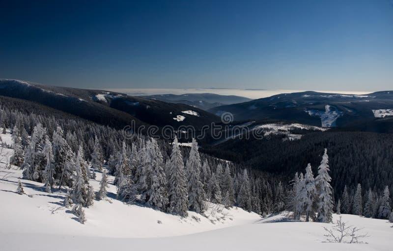 Wild snowy mountains view stock image