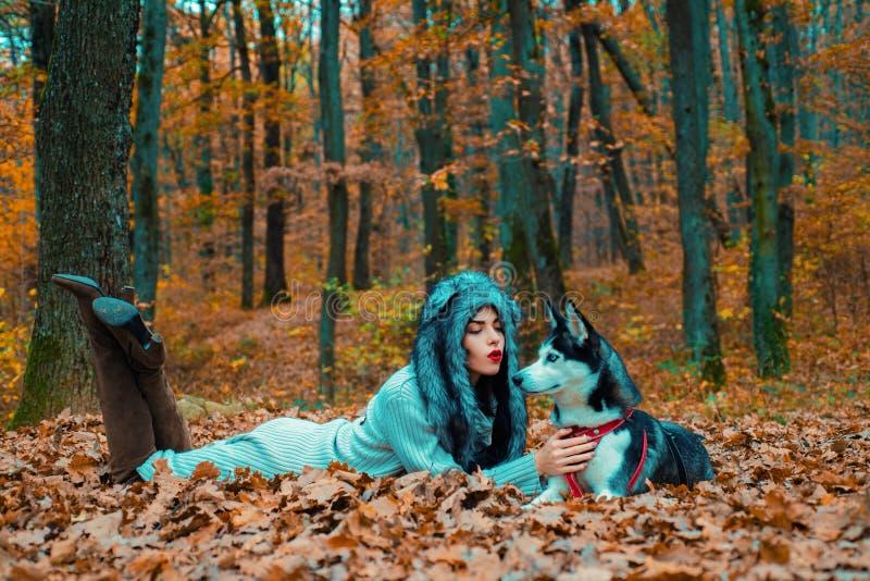 Wild in soul. Siberian husky favorite pet. Animal husbandry. Girl pretty stylish woman walking with husky dog autumn stock photos