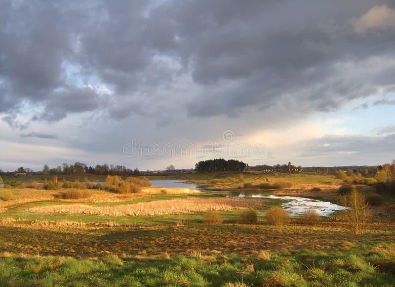 Wild spring landscape stock photo