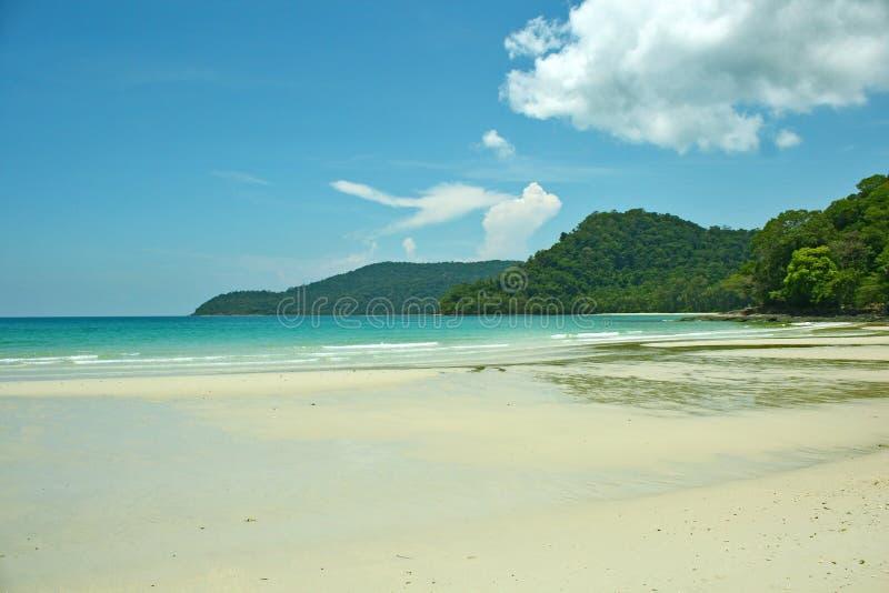 Wild Strand Ondiep Zand Coral Sea Mountains Tropical Landscape royalty-vrije stock foto