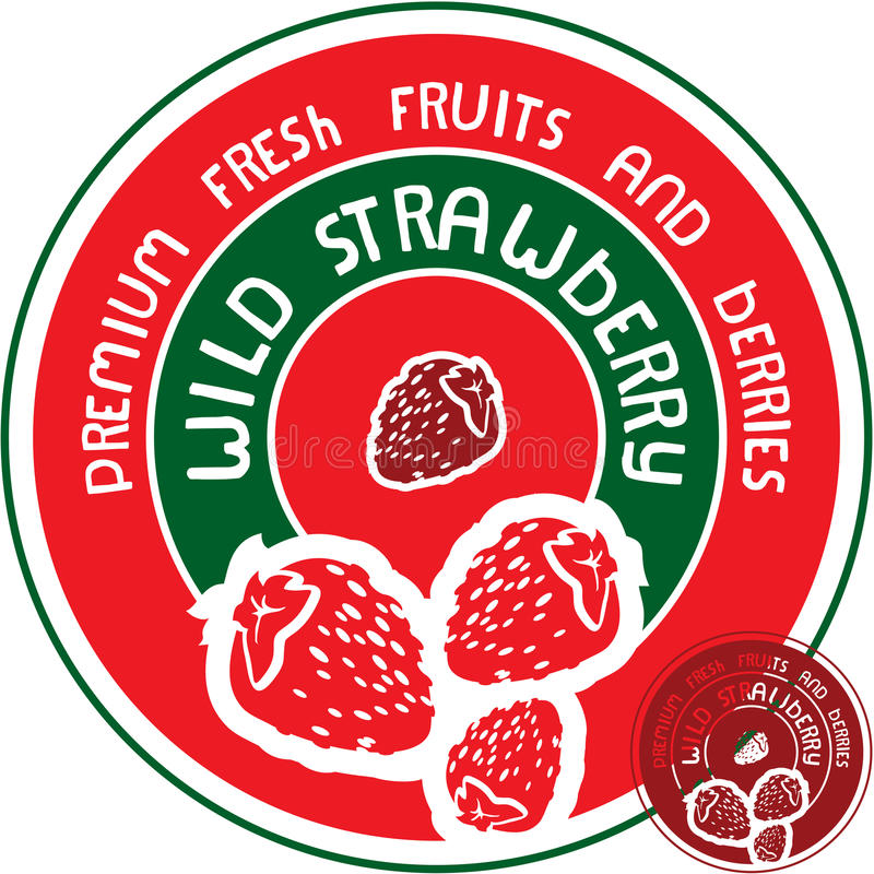 Wild Strawberry Label Stock Images