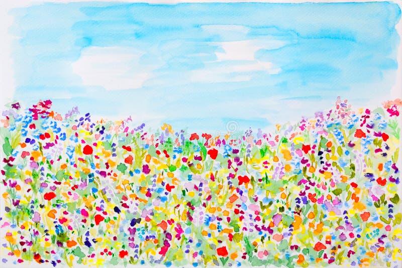 Wild summer flowers watercolor stock illustration