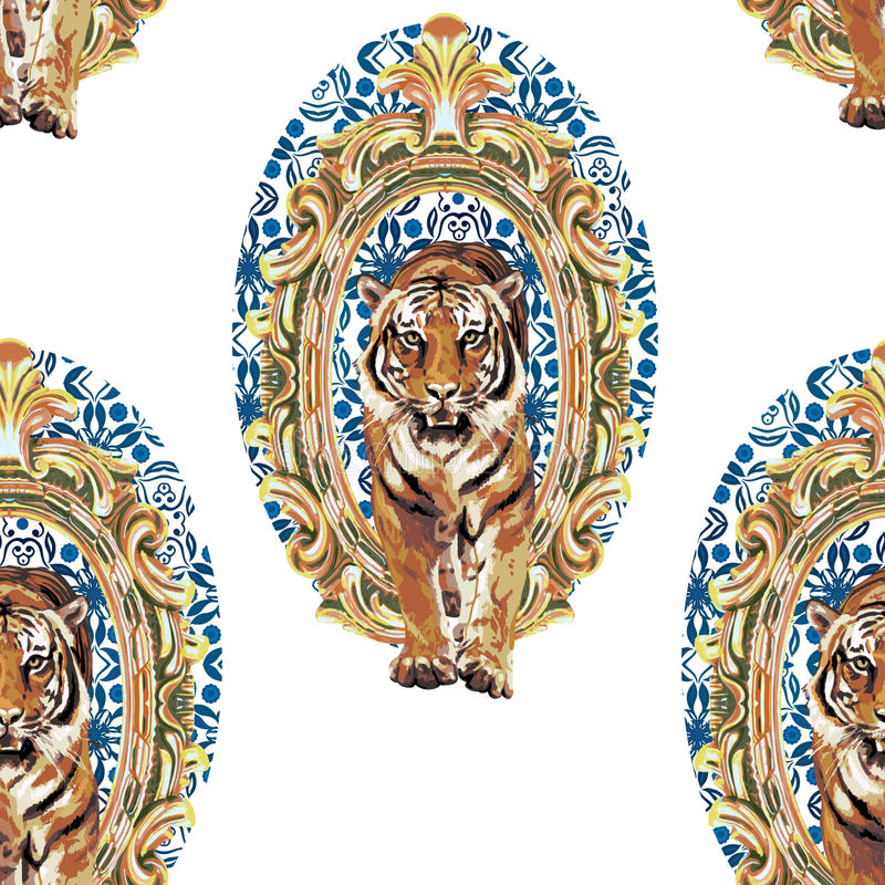 Wild tiger in vintage frame. Vector seamless pattern of wild tiger in vintage frame royalty free illustration