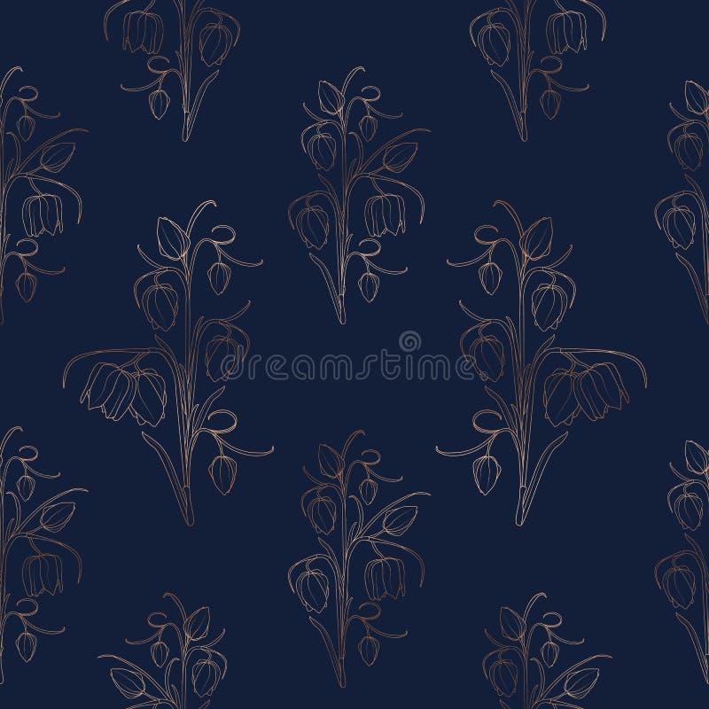 Wild tulip spring flowers stem leaves seamless pattern. Bright copper gold shiny outline dark blue navy background. vector illustration