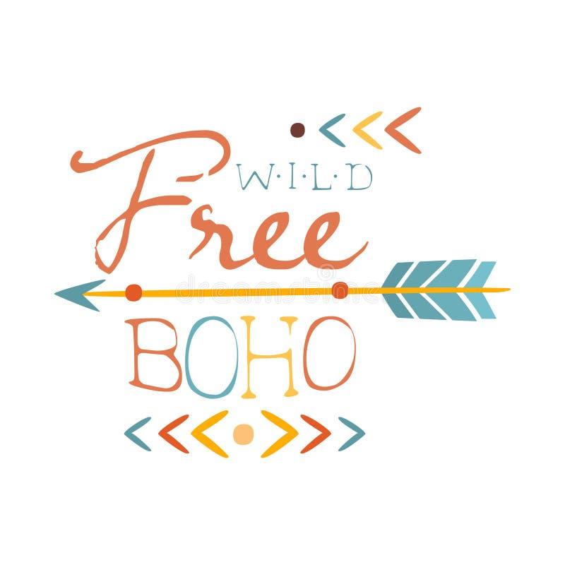 Wild und drucken Sie frei ethnisches Boho-Art-Element, Hippie-Mode-Design-Schablone in der blauen, gelben und roten Farbe mit Pfe vektor abbildung