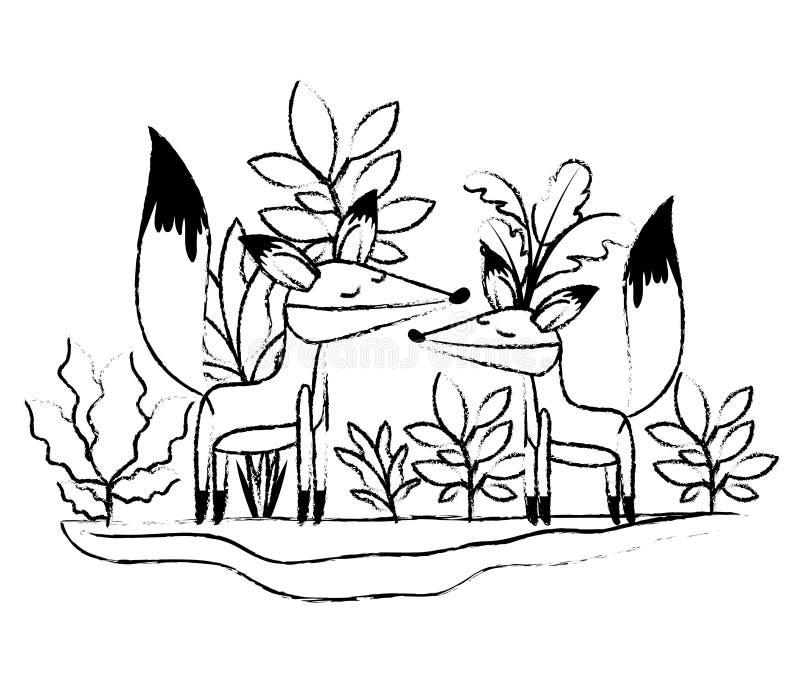 Wild vossenpaar in de wildernis vector illustratie
