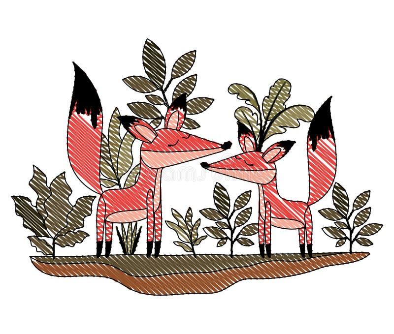 Wild vossenpaar in de wildernis royalty-vrije illustratie