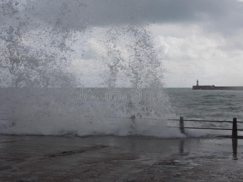 Wild Water at the Beach. Windy day @ Newhaven Beach, East Sussex royalty free stock photography