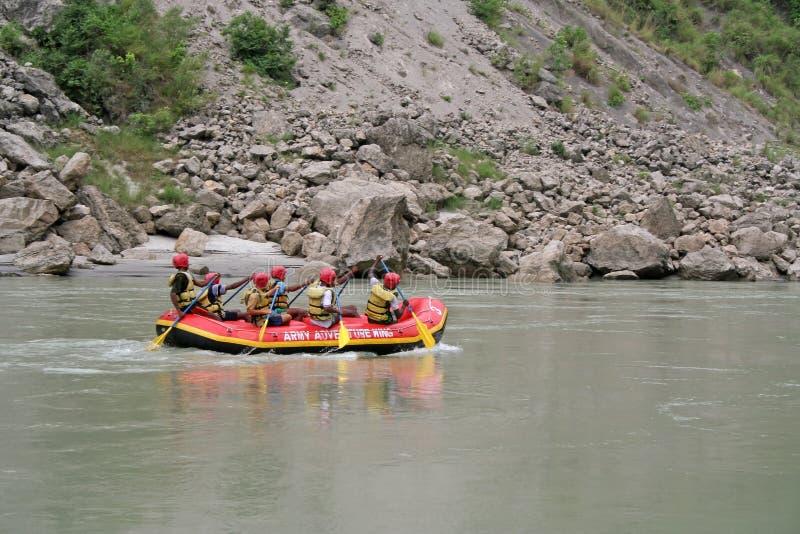 Wild water rafting stock photo