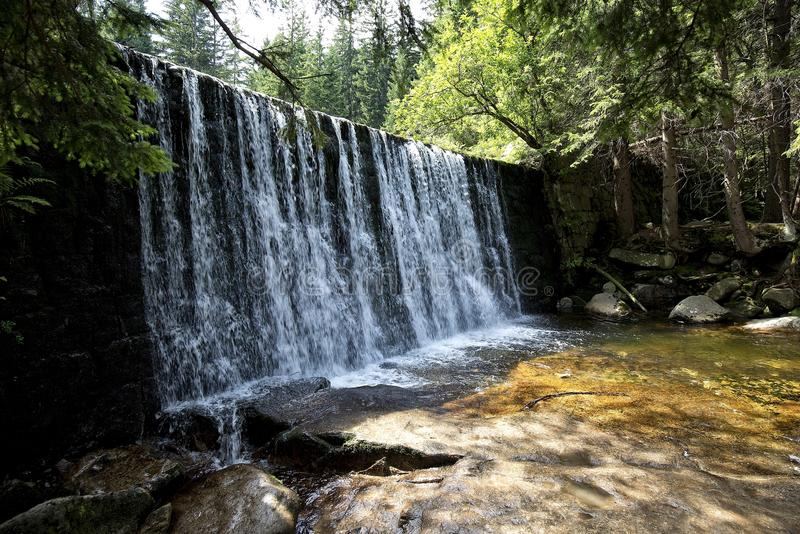 Wild Waterfall on Lomnica river in Karpacz royalty free stock photography