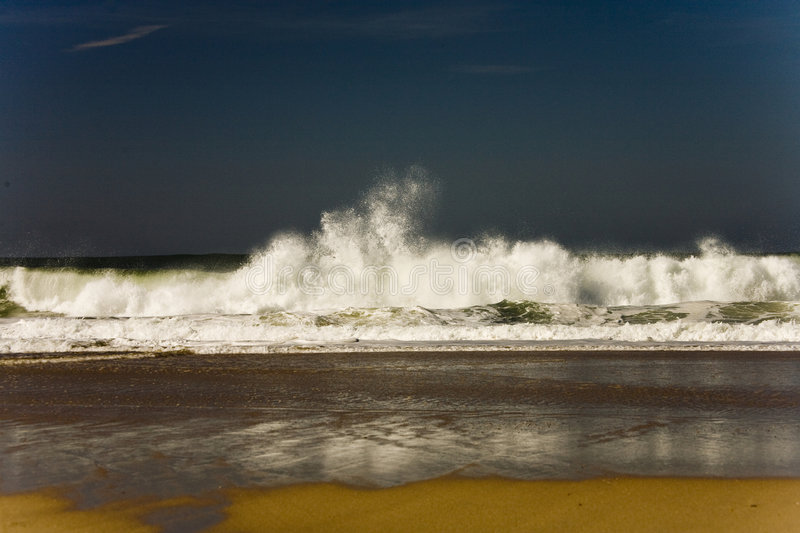 Wild waves on the coast of Portugal stock photo