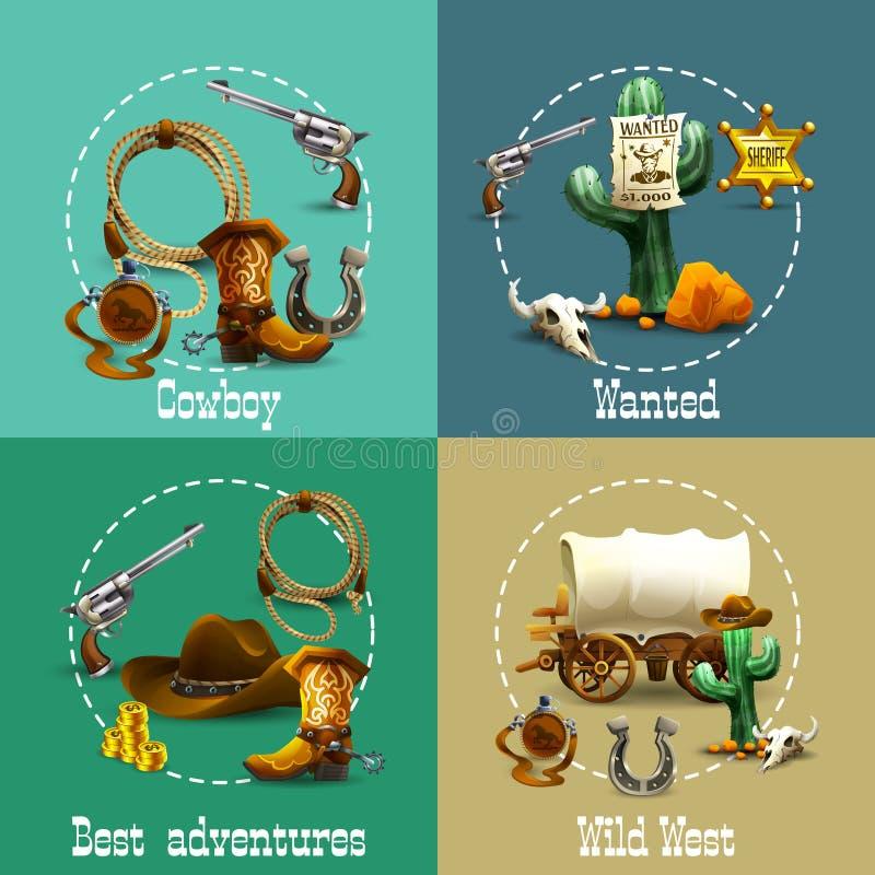 Free Wild West Adventures Icons Set Stock Photo - 60769650