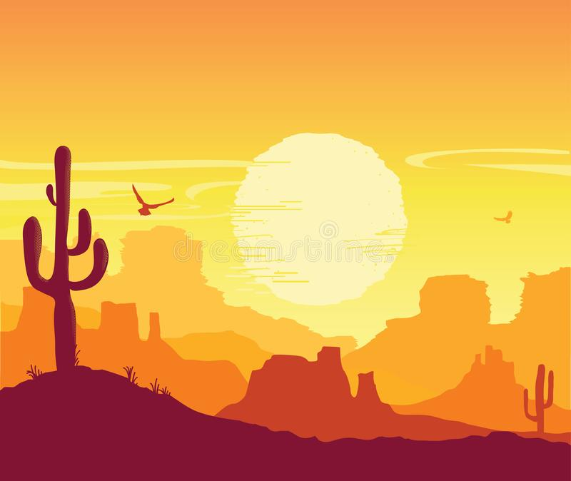 Wild West American desert. Vector Arizona prairie landscape with cowboy on horse. American desert nature background. Vector Arizona prairie landscape with sun royalty free illustration