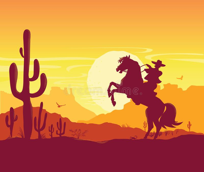 Wild West American desert. Vector Texas prairie landscape with cowboy on horse. American desert nature background. Vector Texas prairie landscape with cowboy on vector illustration