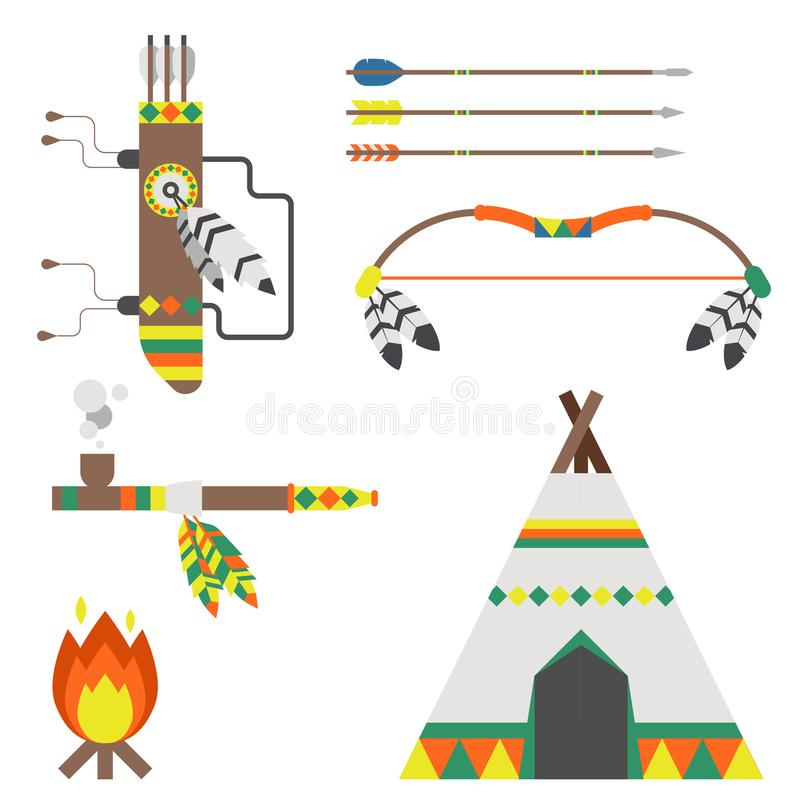 Wild west american indian designed element traditional art concept and native tribal ethnic feather culture vector royalty free illustration
