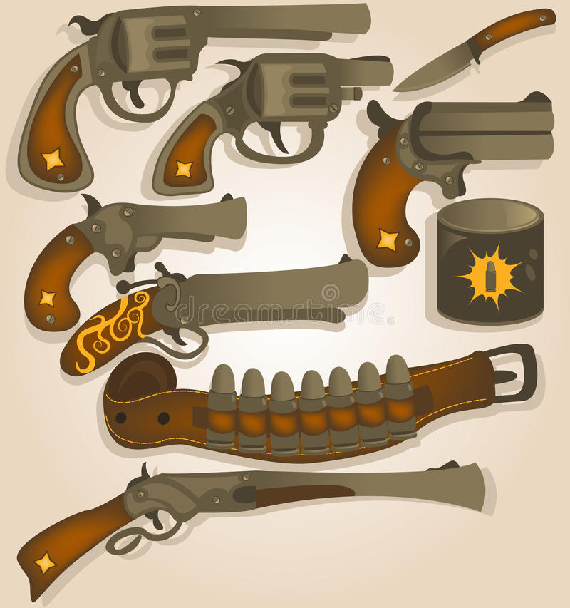 Wild west arms collection stock illustration
