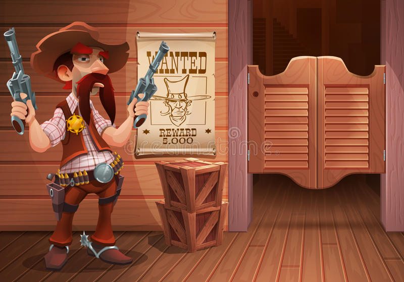 Wild west background scene - cool sheriff cowboy with revolver, door of the saloon and poster with cowboy face. Wild west background scene - cool sheriff cowboy vector illustration