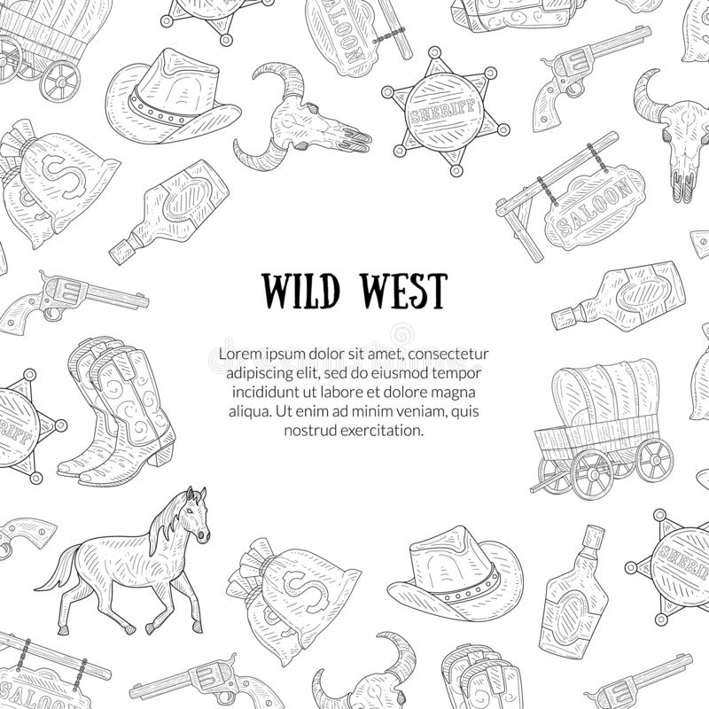 Wild West Banner Template with Place for Text, Western, Cowboy Hand Drawn Symbols Pattern Monochrome Vector Illustration vector illustration
