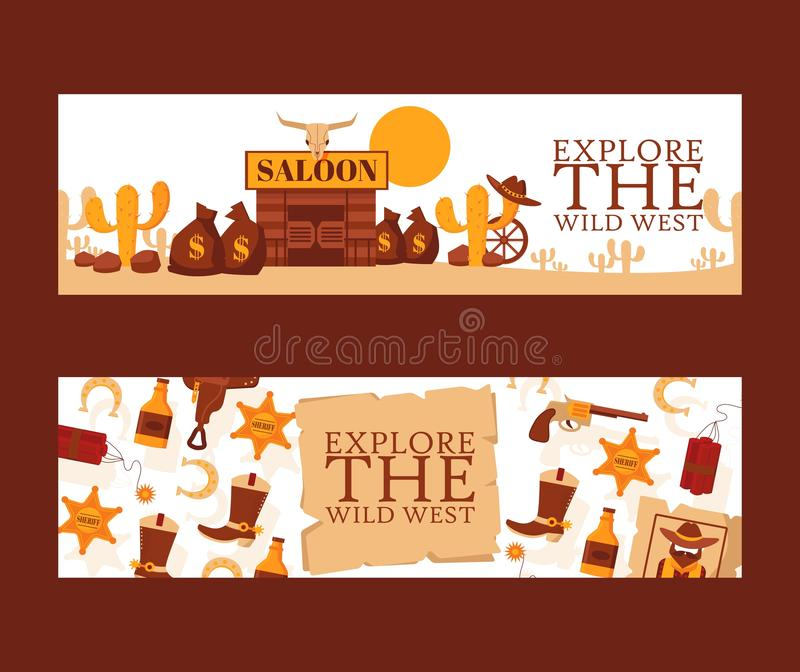 Wild West banner, vector illustration. Cartoon style symbols of American western cowboy adventures. Saloon in Mexican stock illustration