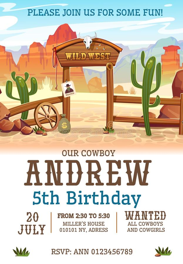 Wild west Birthday party invitation design template. Western poster concept for invitations, greeting cards etc. Cartoon wild west vector illustration