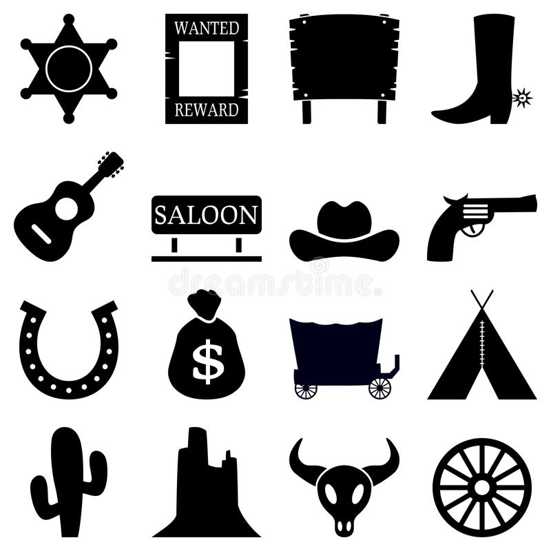 Wild West Black & White Icons