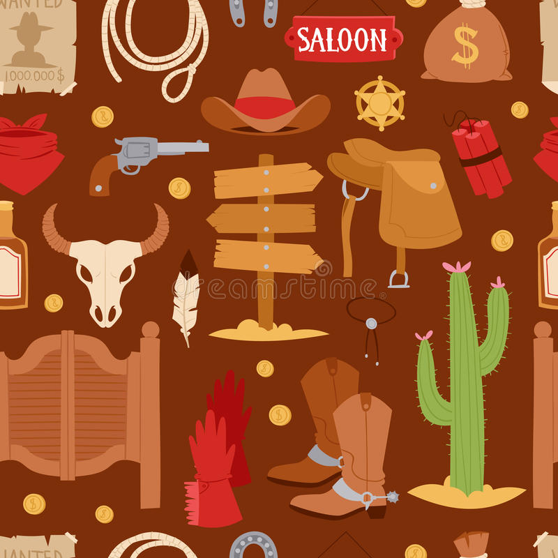 Wild west cartoon icons set cowboy rodeo equipment and different accessories vector illustration seamless pattern.  stock illustration