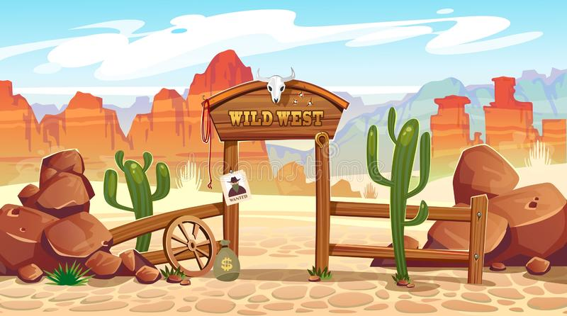 Wild west cartoon illustration with cowboy, skull, wanted poster and mountains. Vector western illustration royalty free illustration