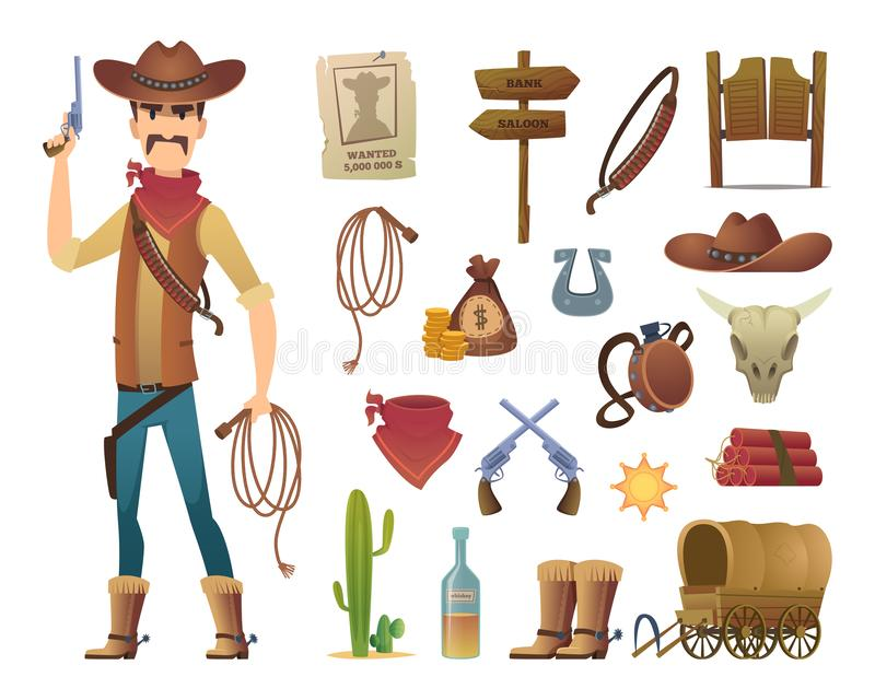 Wild west cartoon. Saloon cowboy western lasso symbols vector pictures isolated stock illustration