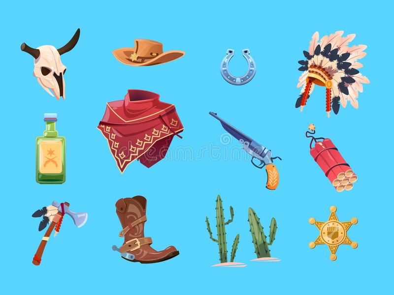 Wild west cartoon set. Cowboy boots, hat and gun. Bull skull, indian war bonnet and tomahawk. Isolated vector collection stock illustration