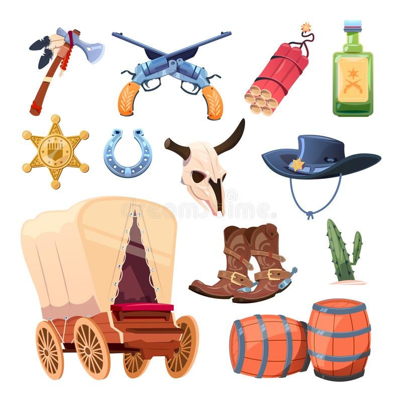 Wild west cartoon set. Cowboy boots, hat and gun. Bull skull, tomahawk, drink, dessert flower isolated on white stock illustration