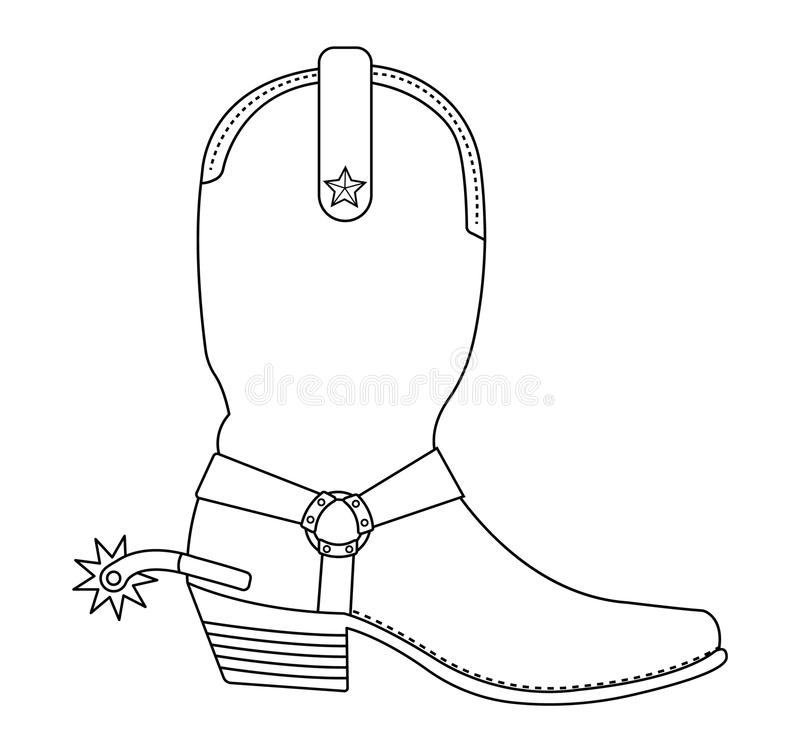 Wild West Cowboy Boot With Spur Contour Stock Vector