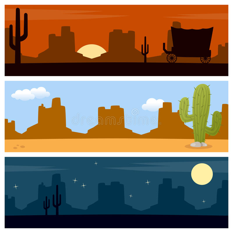 Wild West Desert Banners. Set of three wild west or desert banners, with mountains and cacti. Eps file available stock illustration